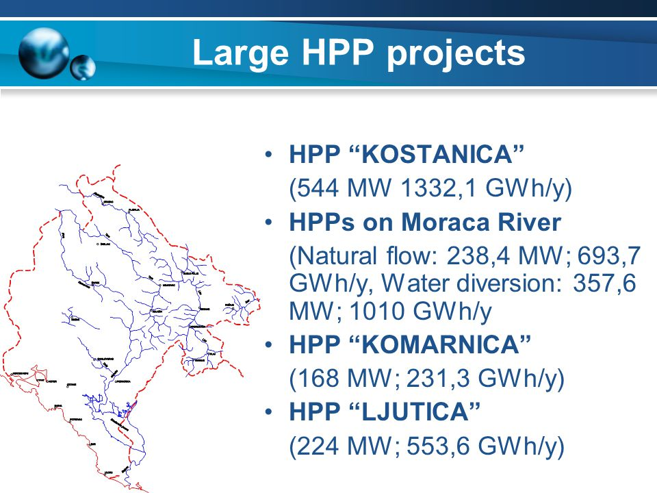 Large HPP projects HPP KOSTANICA (544 MW 1332,1 GWh/y)