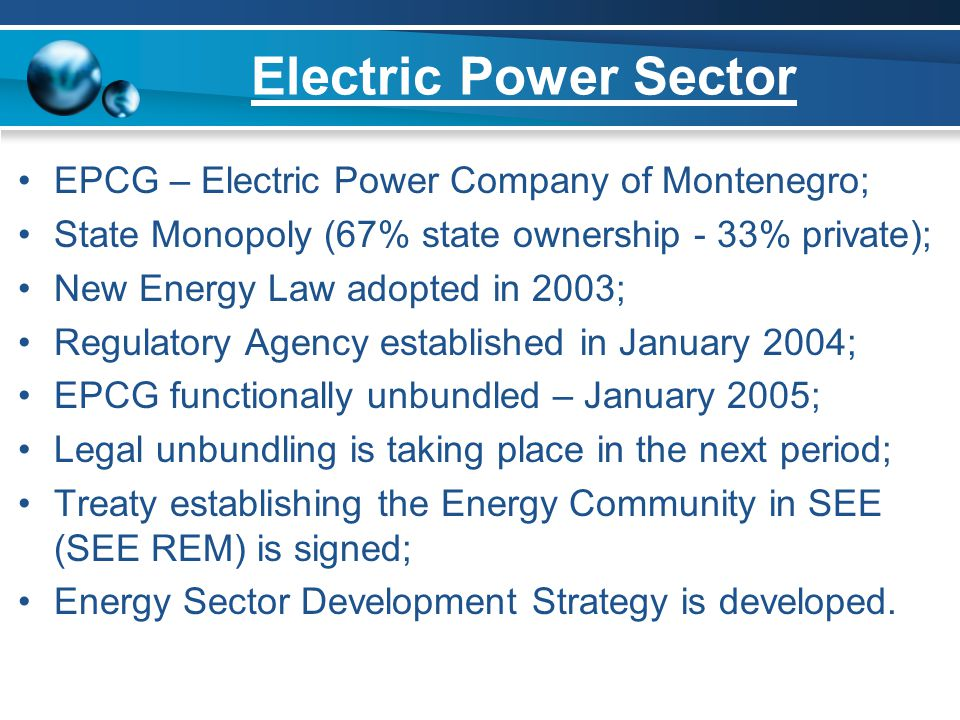 Electric Power Sector EPCG – Electric Power Company of Montenegro;