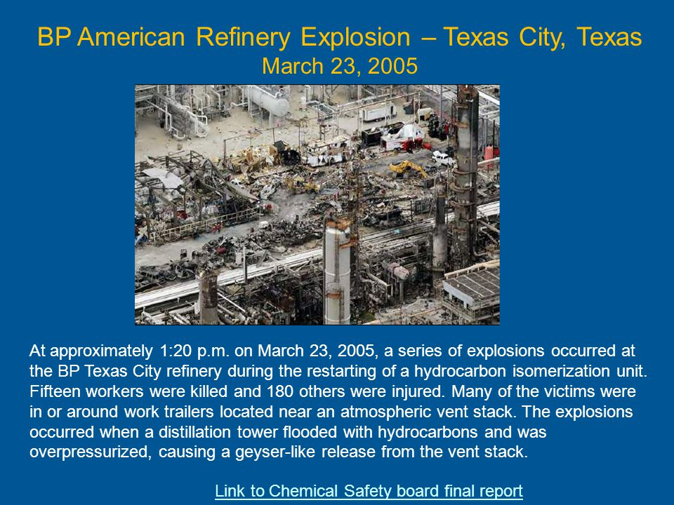 BP American Refinery Explosion – Texas City, Texas