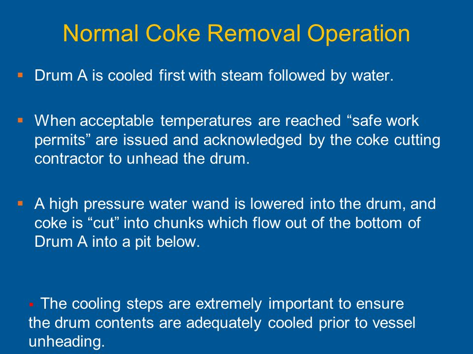 Normal Coke Removal Operation