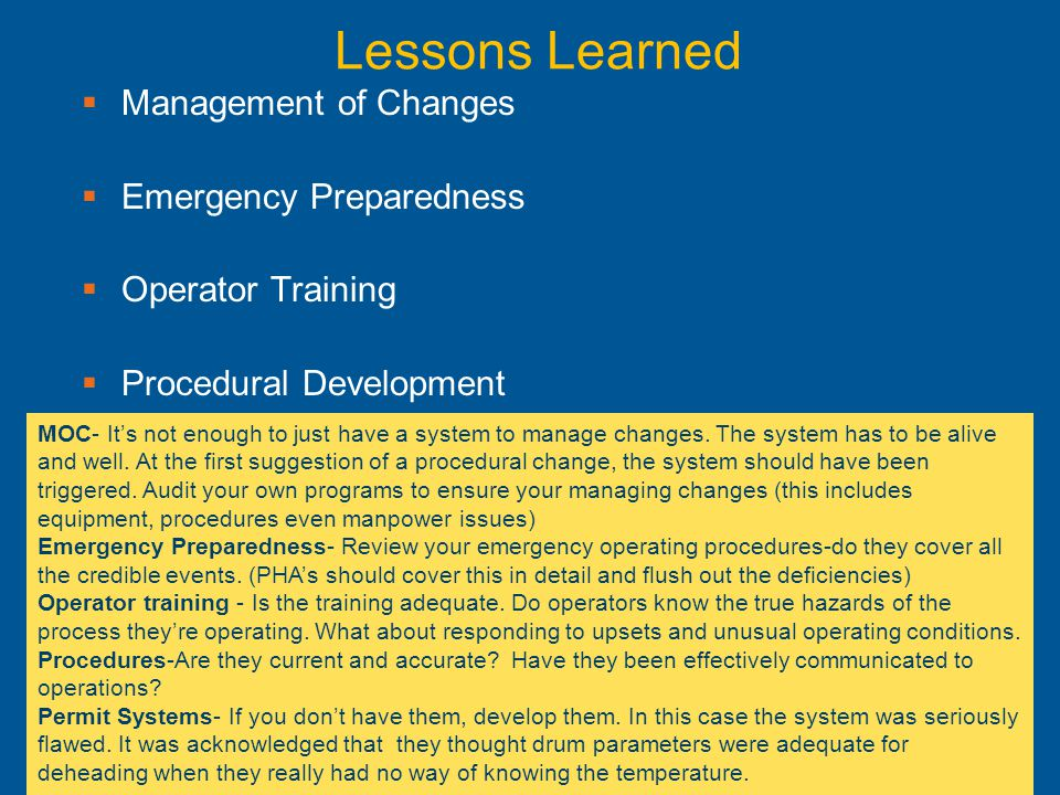 Lessons Learned Management of Changes Emergency Preparedness