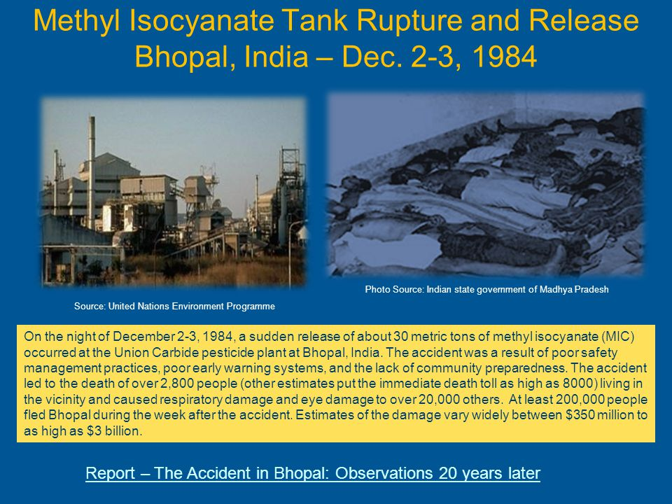 Methyl Isocyanate Tank Rupture and Release Bhopal, India – Dec