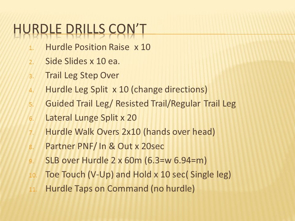 Hurdle Drills Con't Hurdle Position Raise x 10 Side Slides x 10 ea.