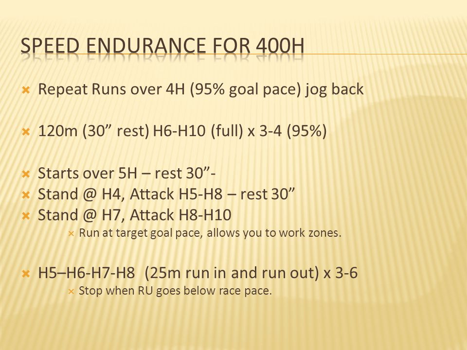 Speed Endurance for 400h Repeat Runs over 4H (95% goal pace) jog back