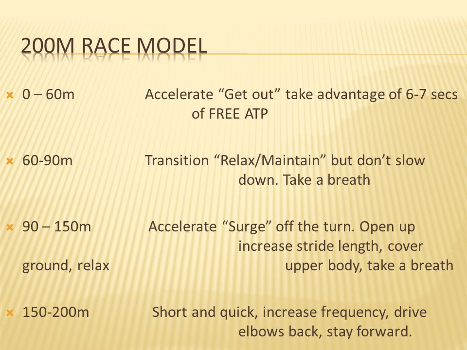 200m Race Model 0 – 60m Accelerate Get out take advantage of 6-7 secs of FREE ATP.