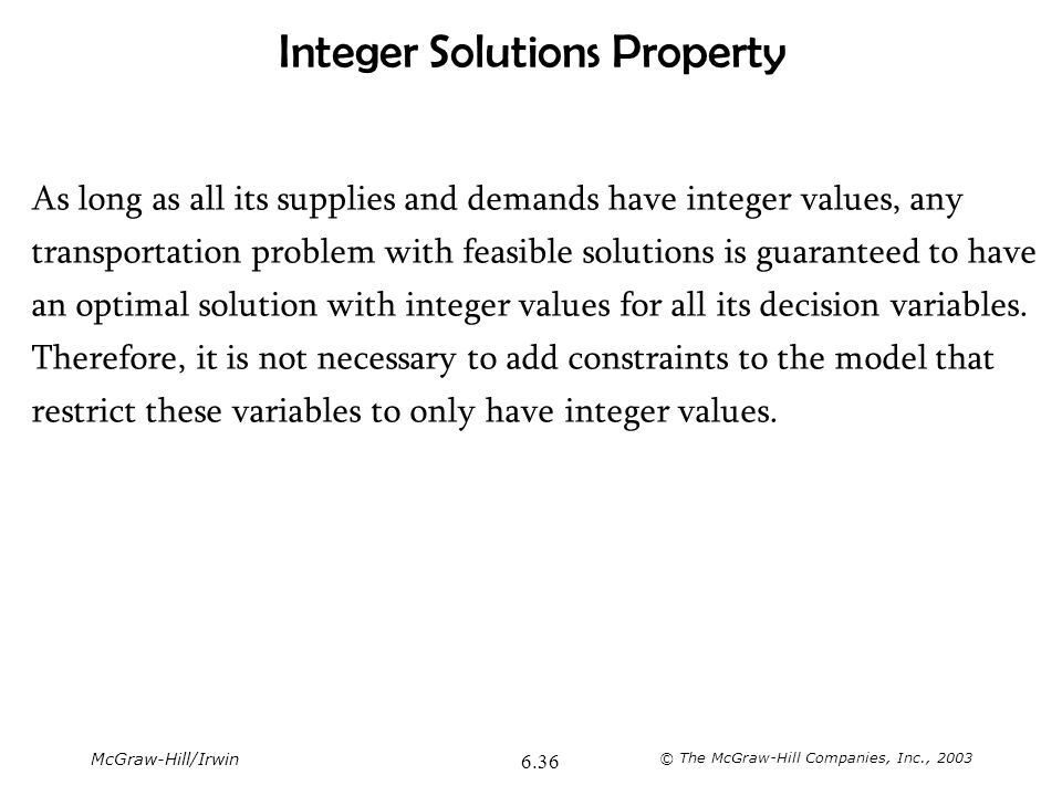 Integer Solutions Property