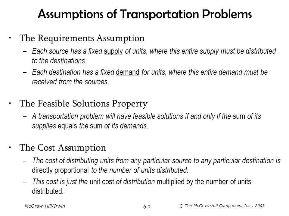 Assumptions of Transportation Problems