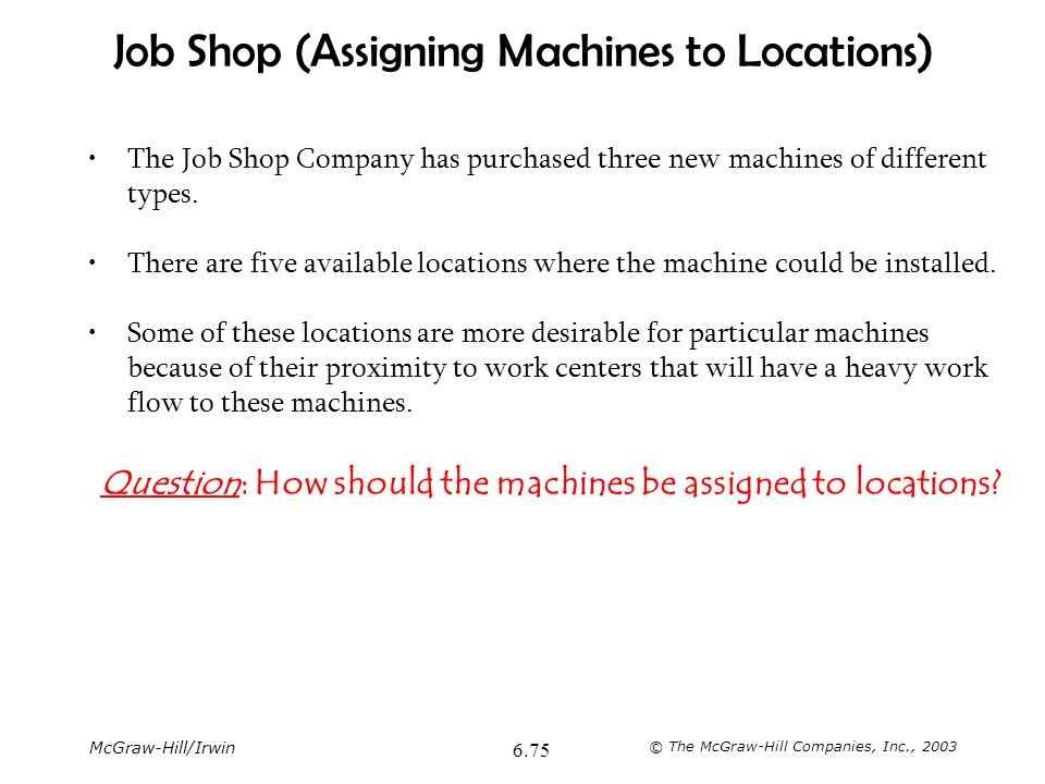 Job Shop (Assigning Machines to Locations)