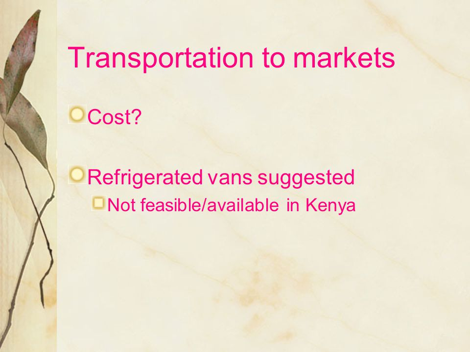 Transportation to markets