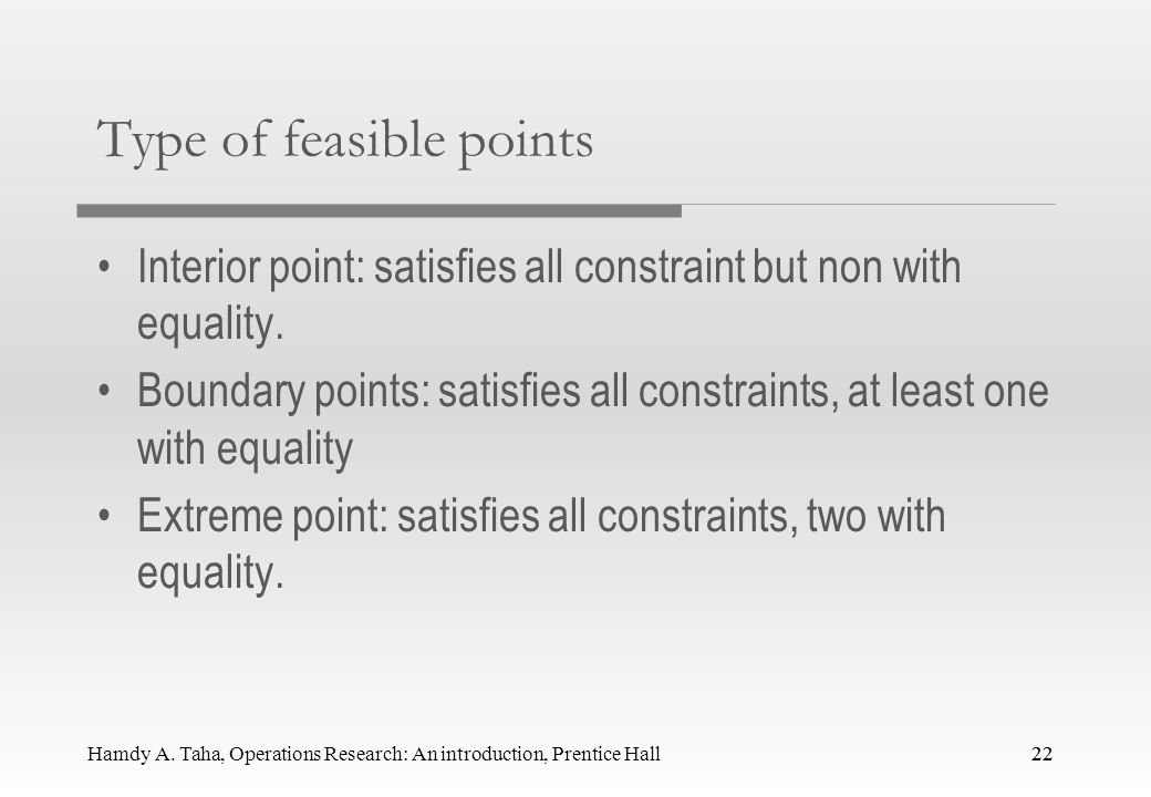 Type of feasible points