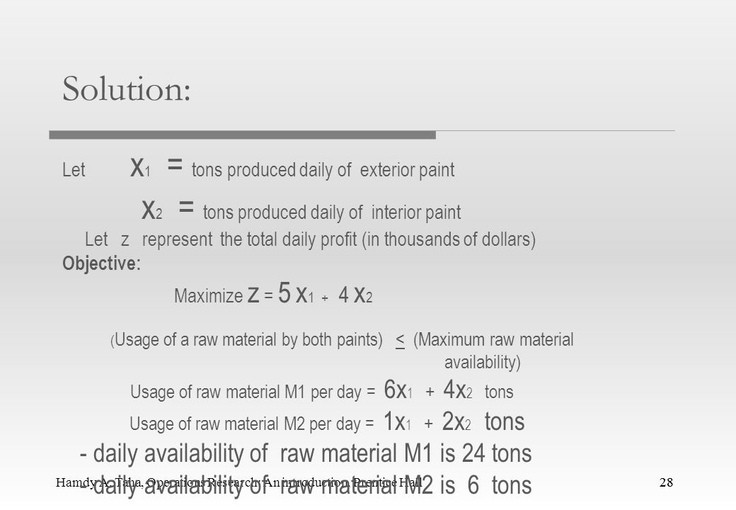 Solution: x2 = tons produced daily of interior paint
