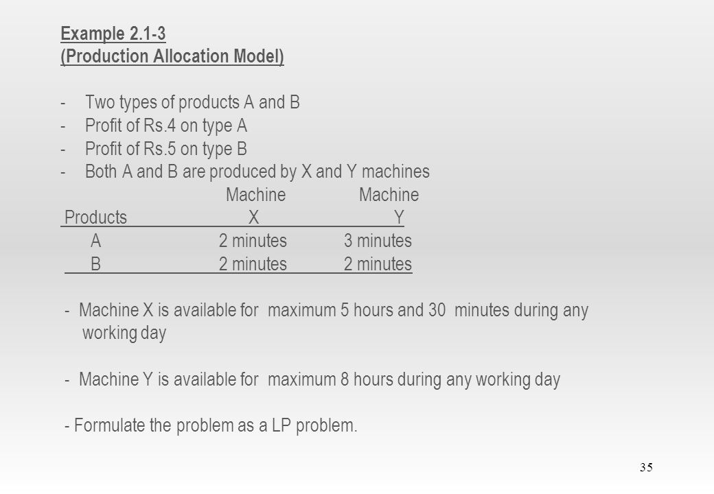 Example 2.1-3 (Production Allocation Model) Two types of products A and B. Profit of Rs.4 on type A.
