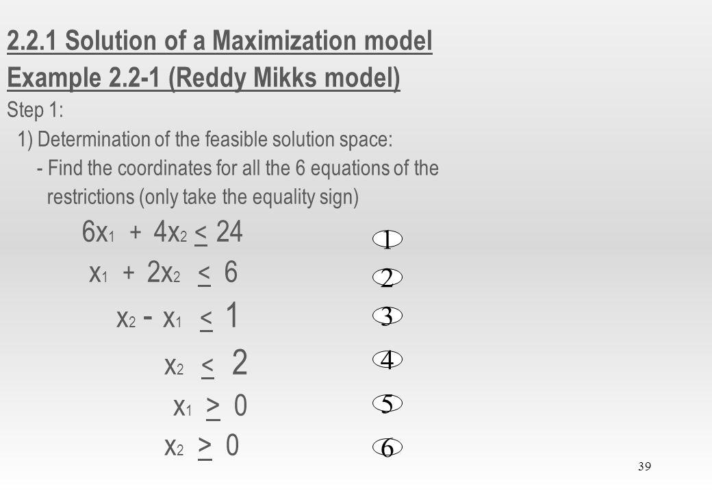 6x1 + 4x2 < 24 x1 + 2x2 < 6 x2 - x1 < 1 x2 < 2 x2 > 0