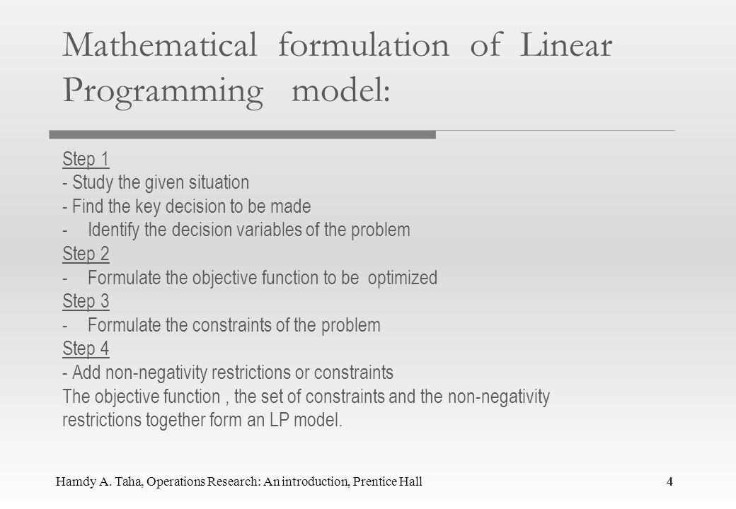 Mathematical formulation of Linear Programming model:
