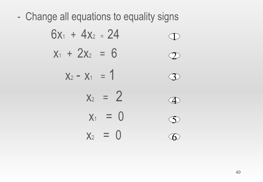 - Change all equations to equality signs