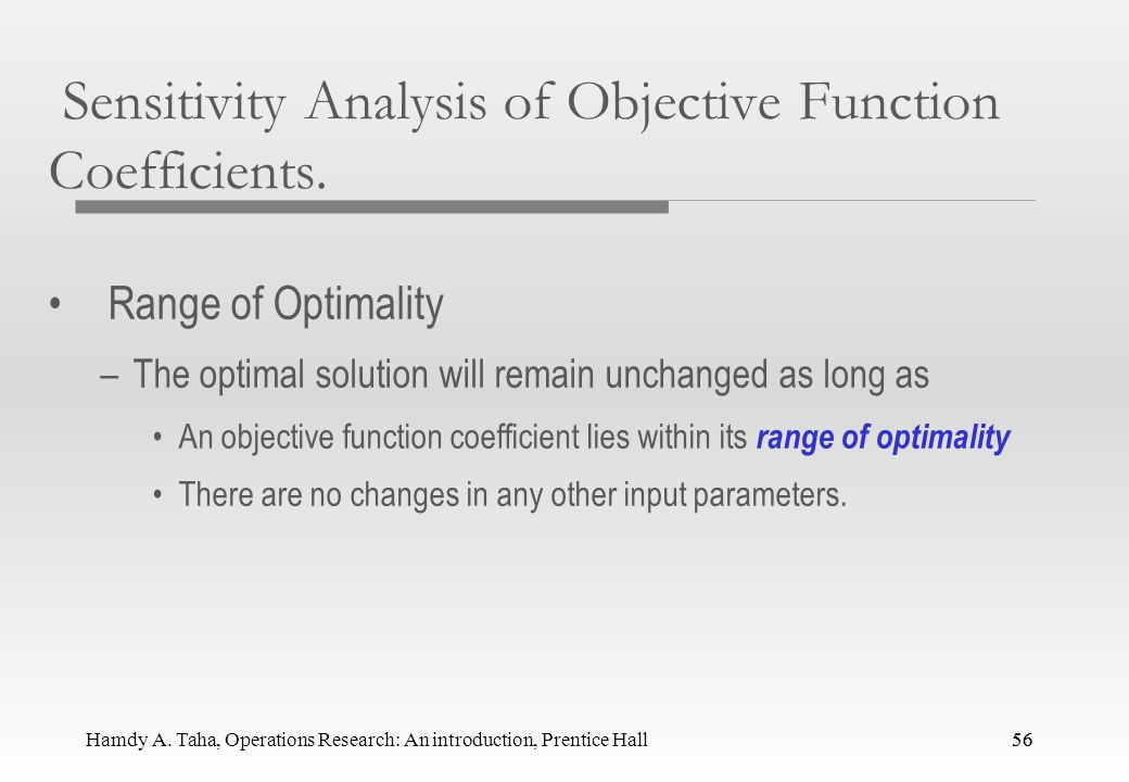 Sensitivity Analysis of Objective Function Coefficients.