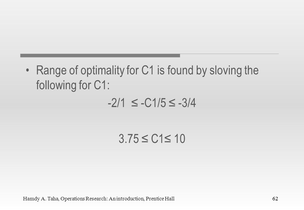 Range of optimality for C1 is found by sloving the following for C1:
