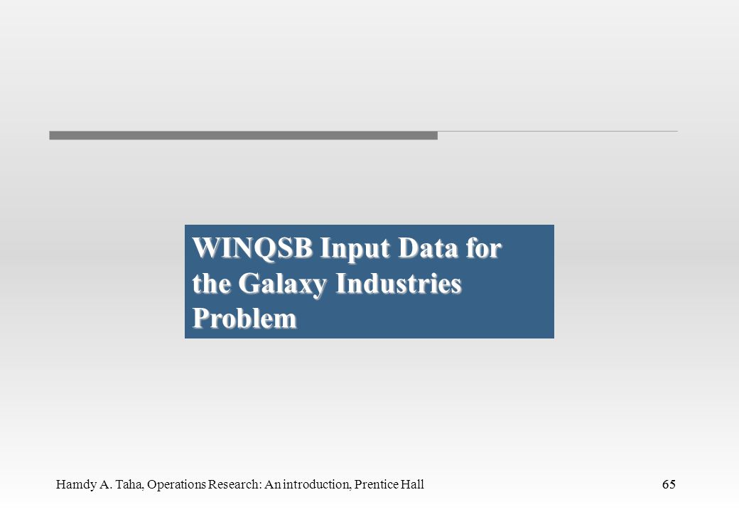 WINQSB Input Data for the Galaxy Industries Problem
