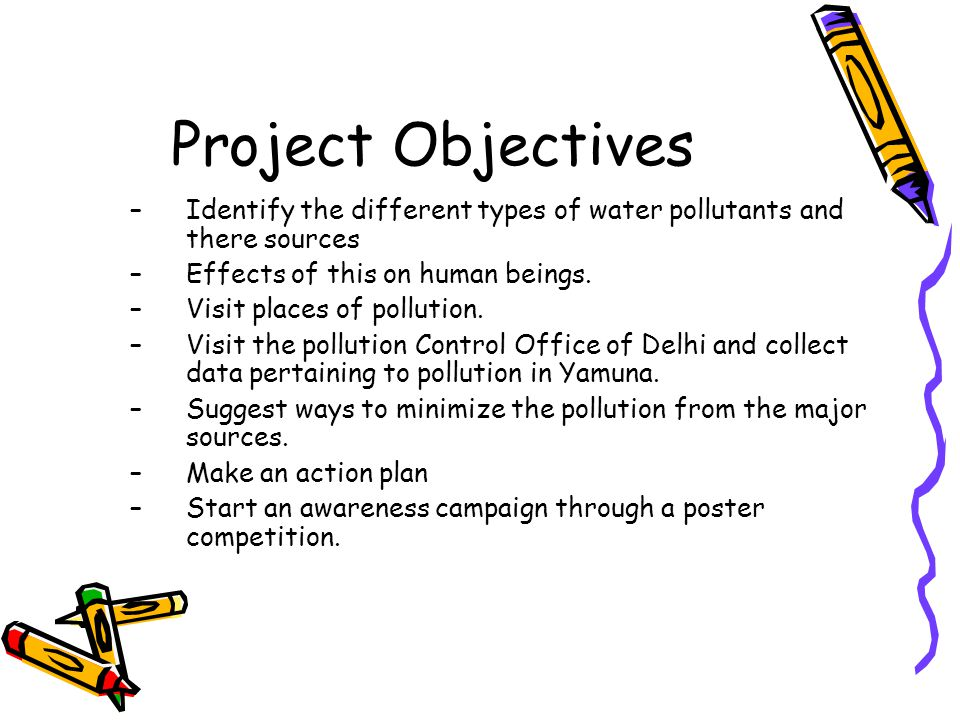 Project Objectives Identify the different types of water pollutants and there sources. Effects of this on human beings.