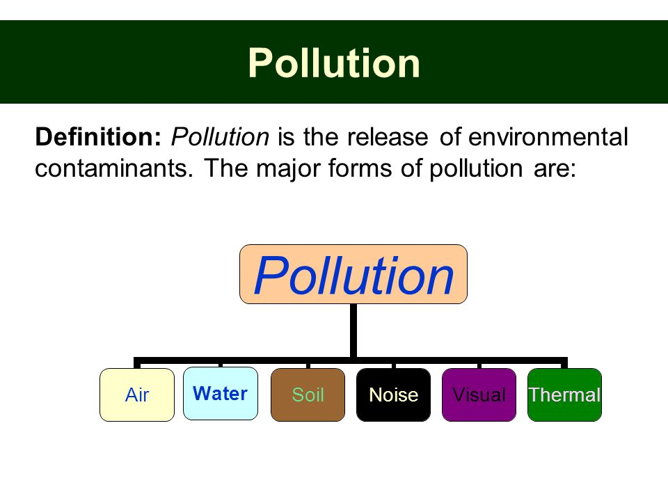 Pollution Definition: Pollution is the release of environmental contaminants.