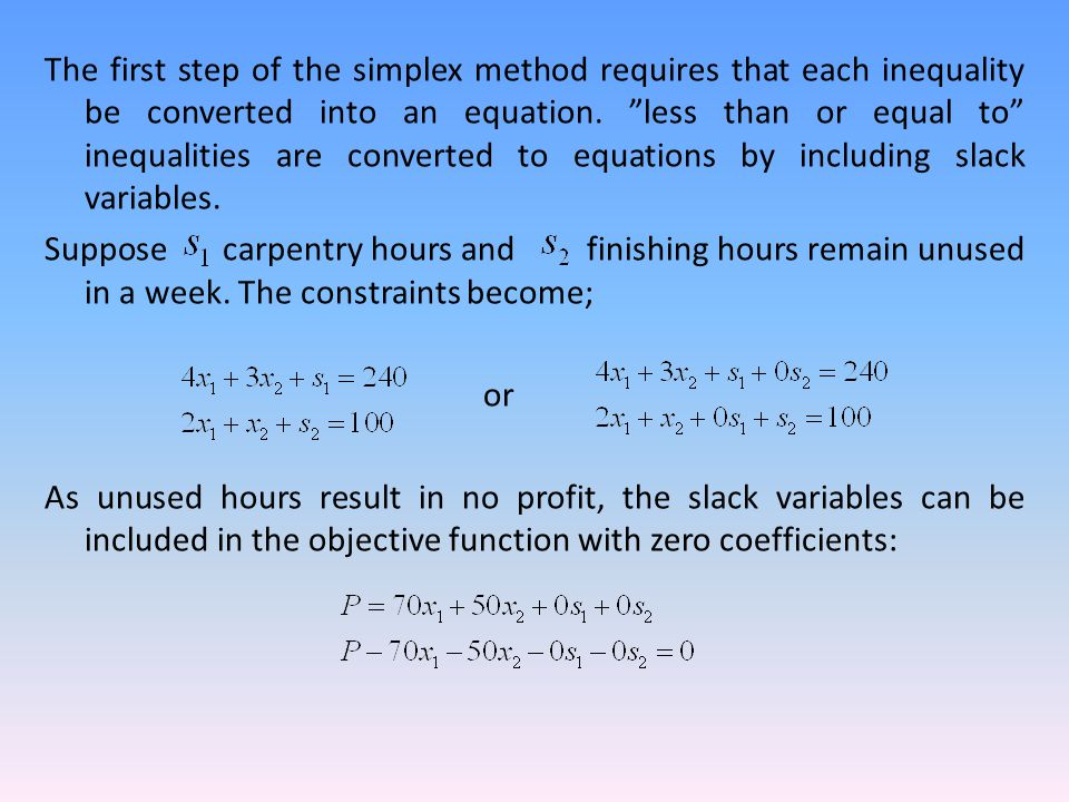 The first step of the simplex method requires that each inequality be converted into an equation.