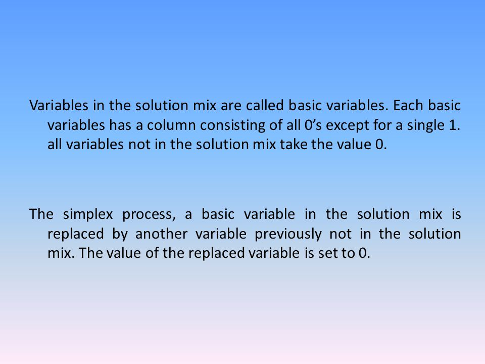 Variables in the solution mix are called basic variables