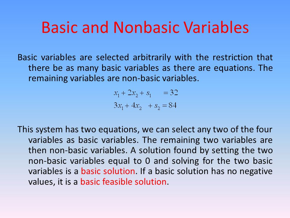 Basic and Nonbasic Variables