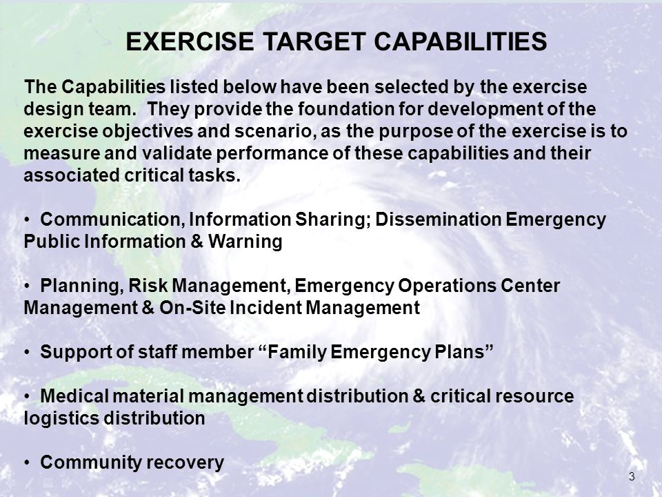 EXERCISE TARGET CAPABILITIES