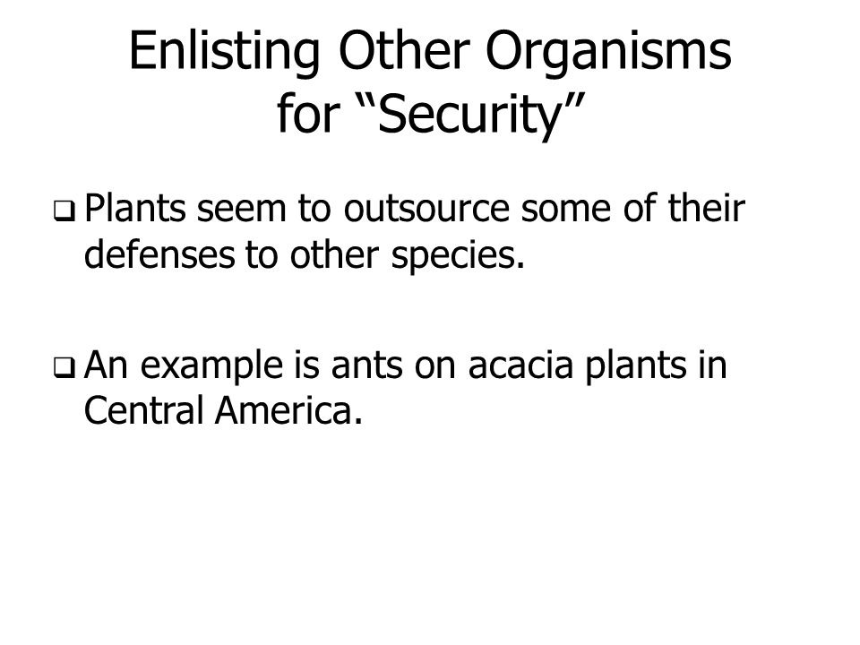 Enlisting Other Organisms for Security