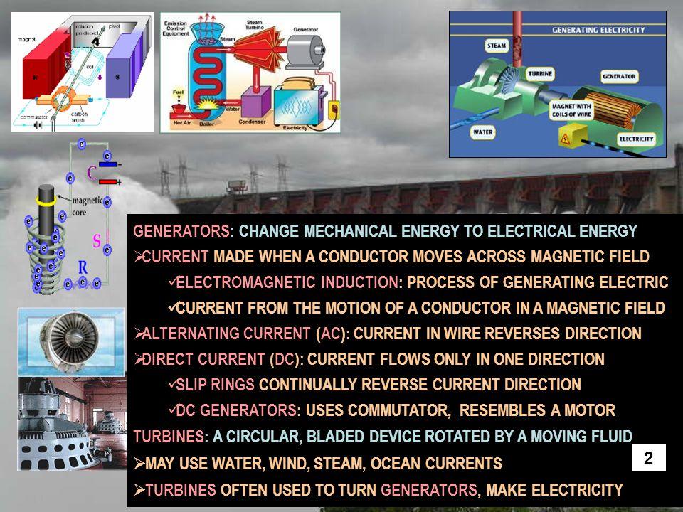GENERATORS: CHANGE MECHANICAL ENERGY TO ELECTRICAL ENERGY