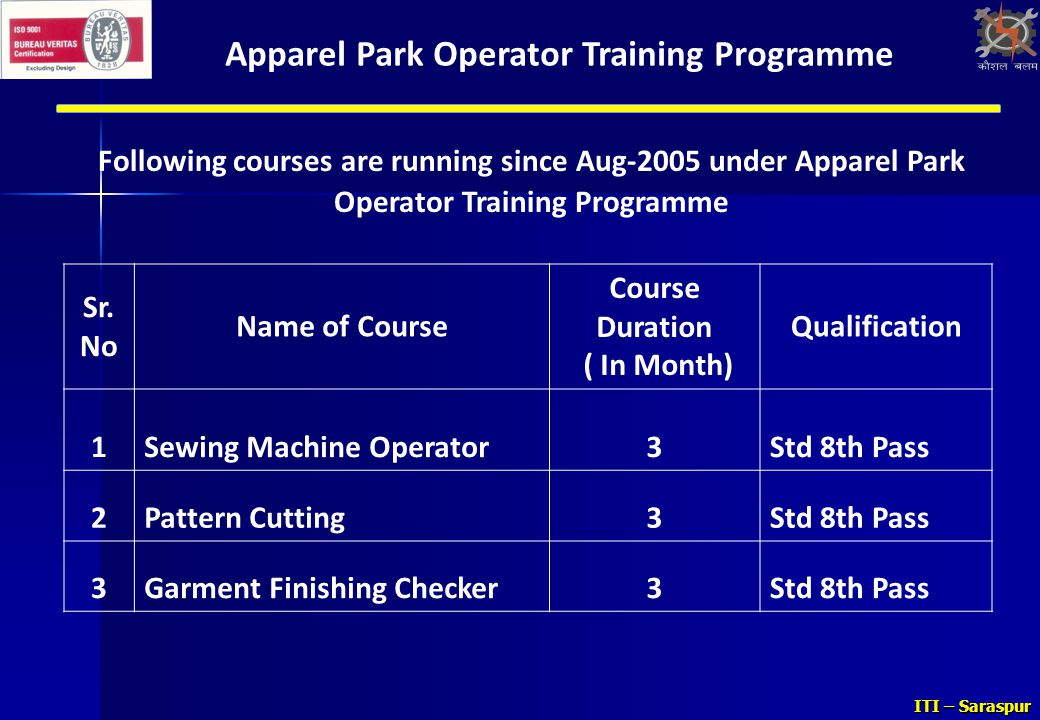 Apparel Park Operator Training Programme