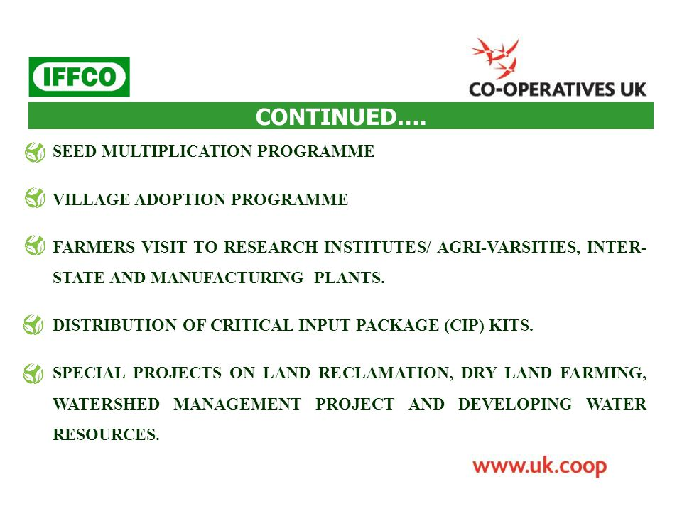 CONTINUED…. SEED MULTIPLICATION PROGRAMME VILLAGE ADOPTION PROGRAMME