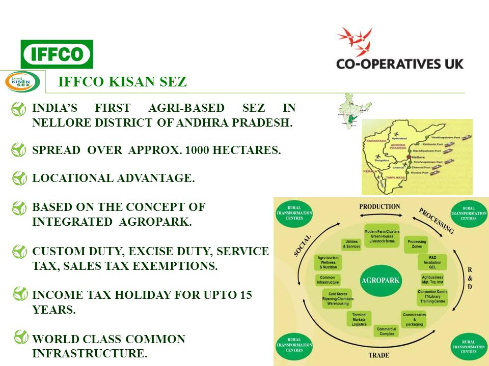 IFFCO KISAN SEZ INDIA'S FIRST AGRI-BASED SEZ IN NELLORE DISTRICT OF ANDHRA PRADESH. SPREAD OVER APPROX. 1000 HECTARES.