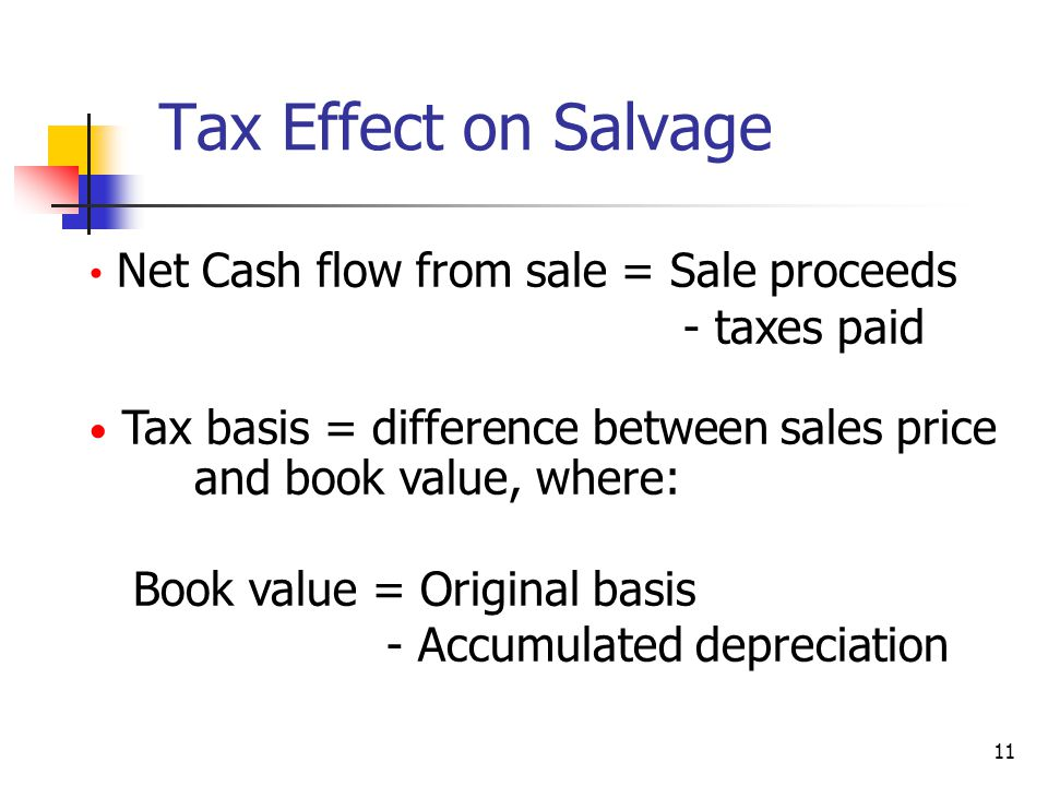 Tax Effect on Salvage Net Cash flow from sale = Sale proceeds