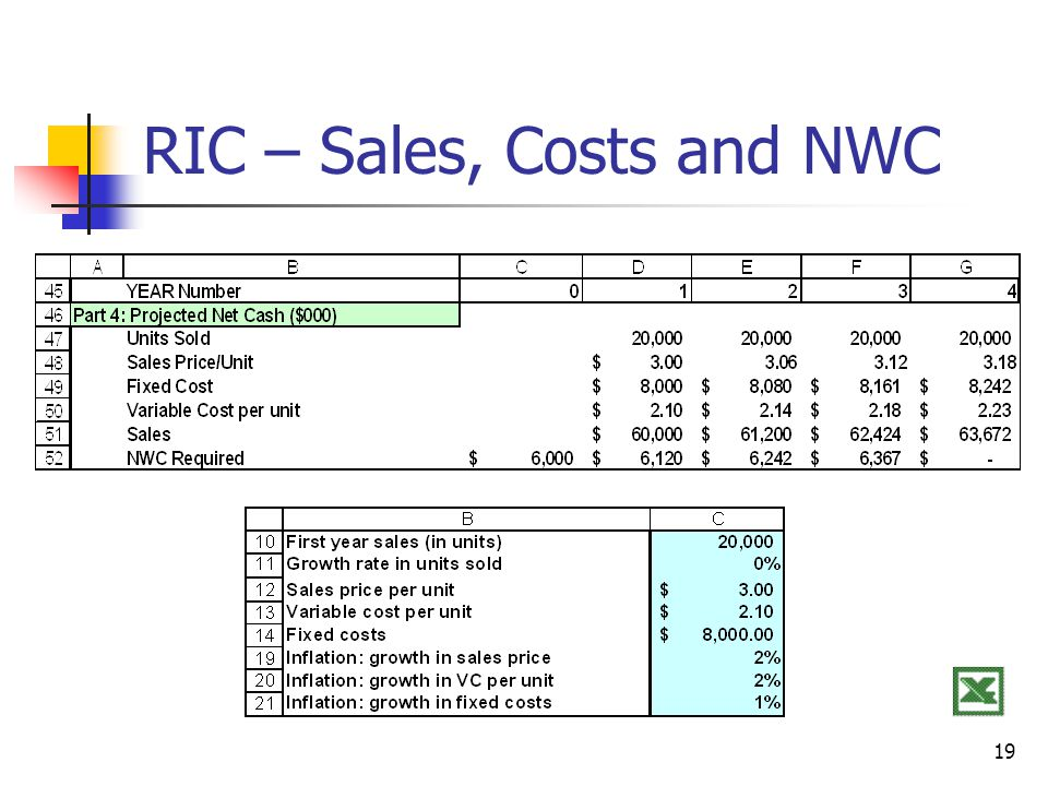 RIC – Sales, Costs and NWC
