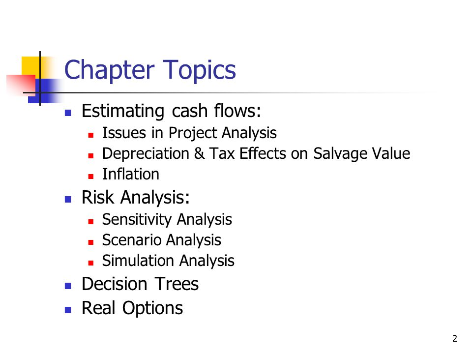 Chapter Topics Estimating cash flows: Risk Analysis: Decision Trees