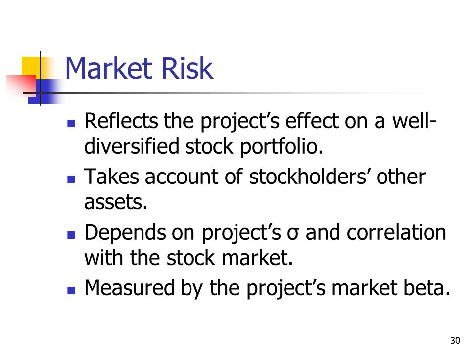Market Risk Reflects the project's effect on a well-diversified stock portfolio. Takes account of stockholders' other assets.