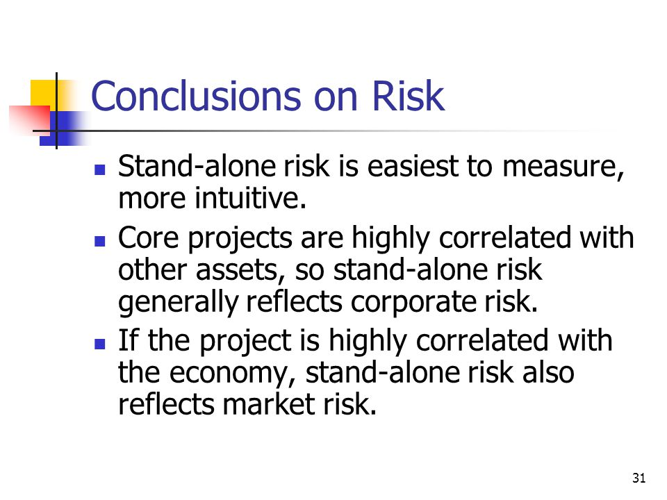 Conclusions on Risk Stand-alone risk is easiest to measure, more intuitive.