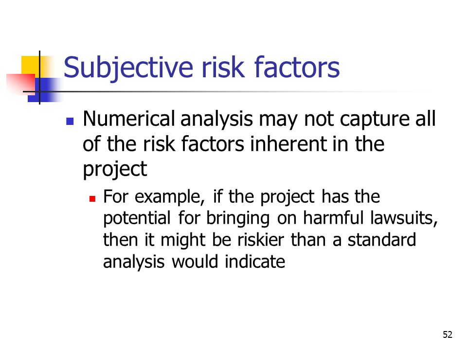 Subjective risk factors