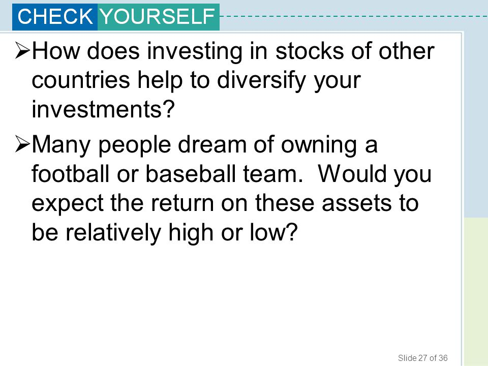 How does investing in stocks of other countries help to diversify your investments
