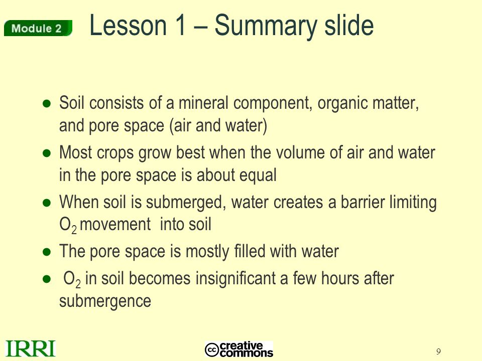 Lesson 1 – Summary slide Soil consists of a mineral component, organic matter, and pore space (air and water)