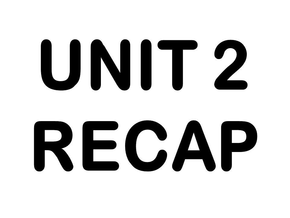 UNIT 2 RECAP