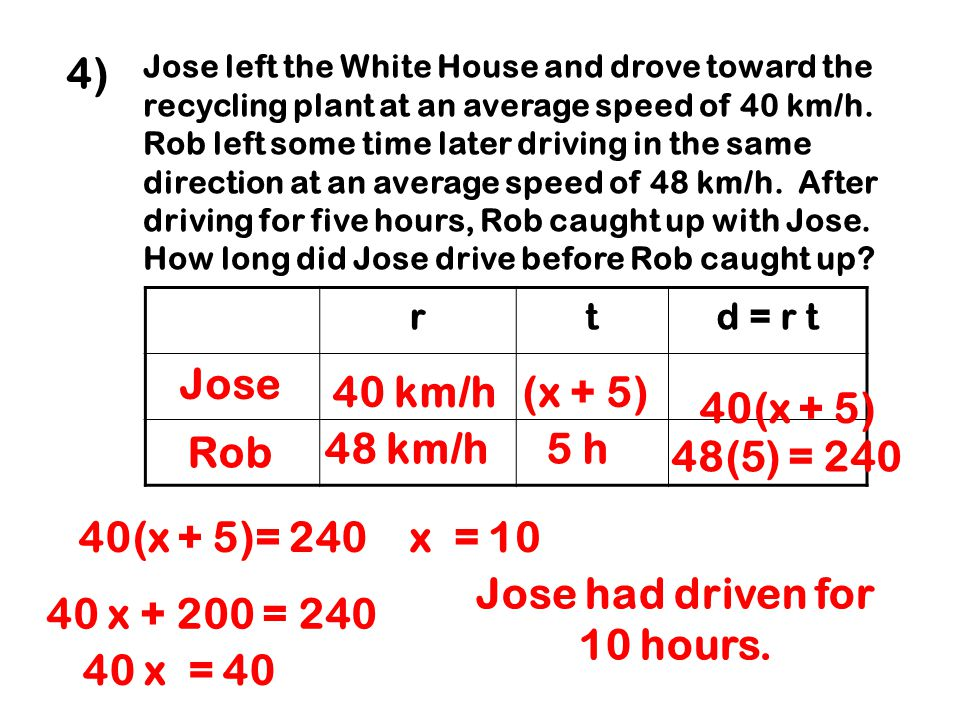 Jose had driven for 10 hours.