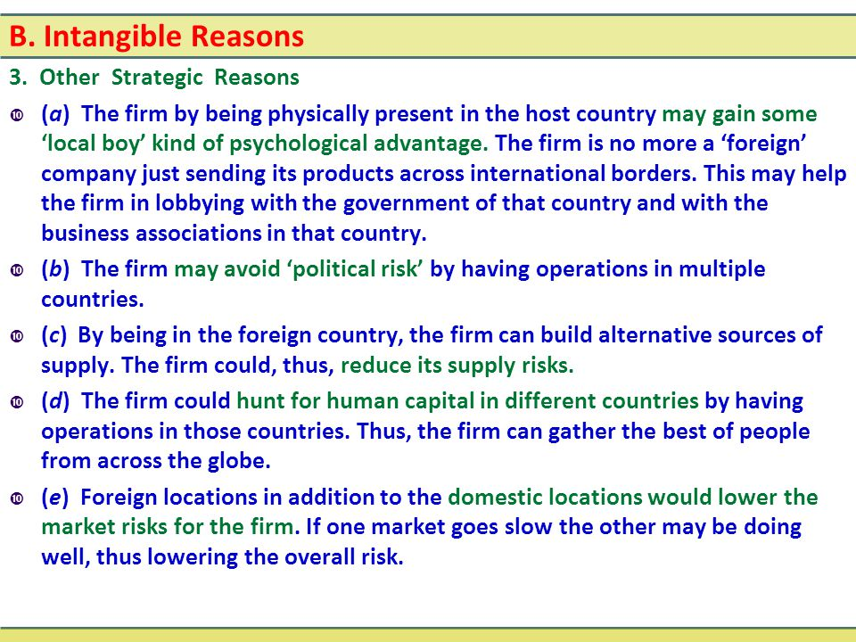 B. Intangible Reasons 3. Other Strategic Reasons
