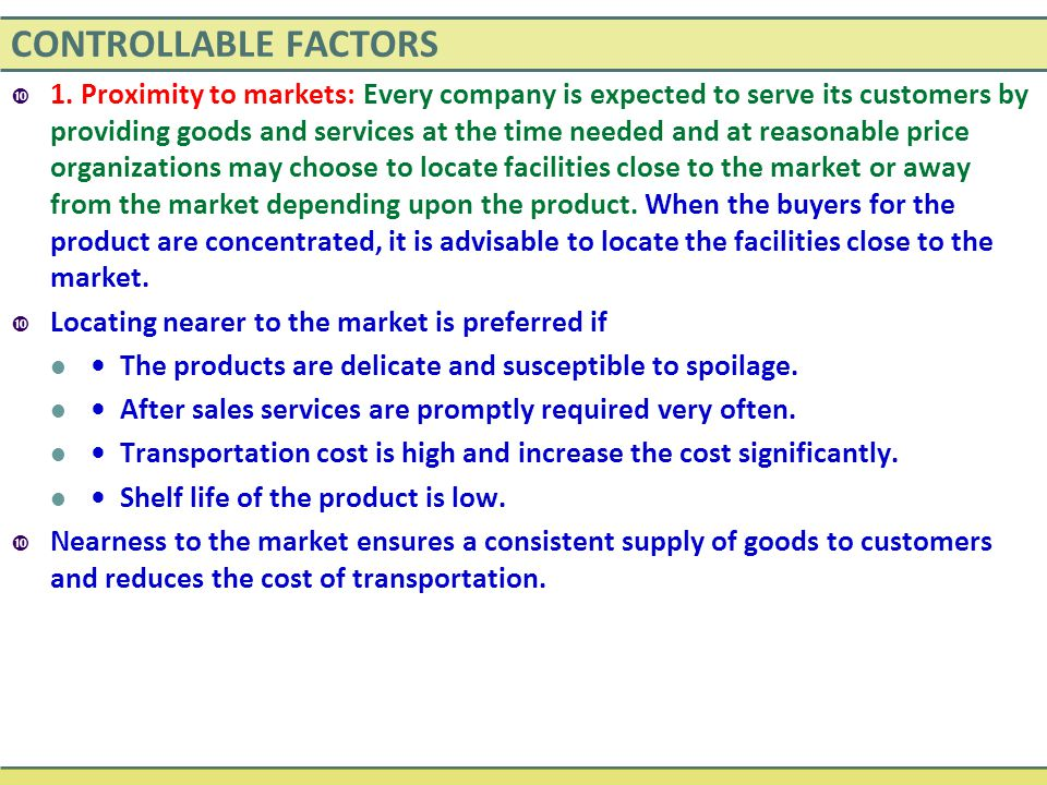 CONTROLLABLE FACTORS