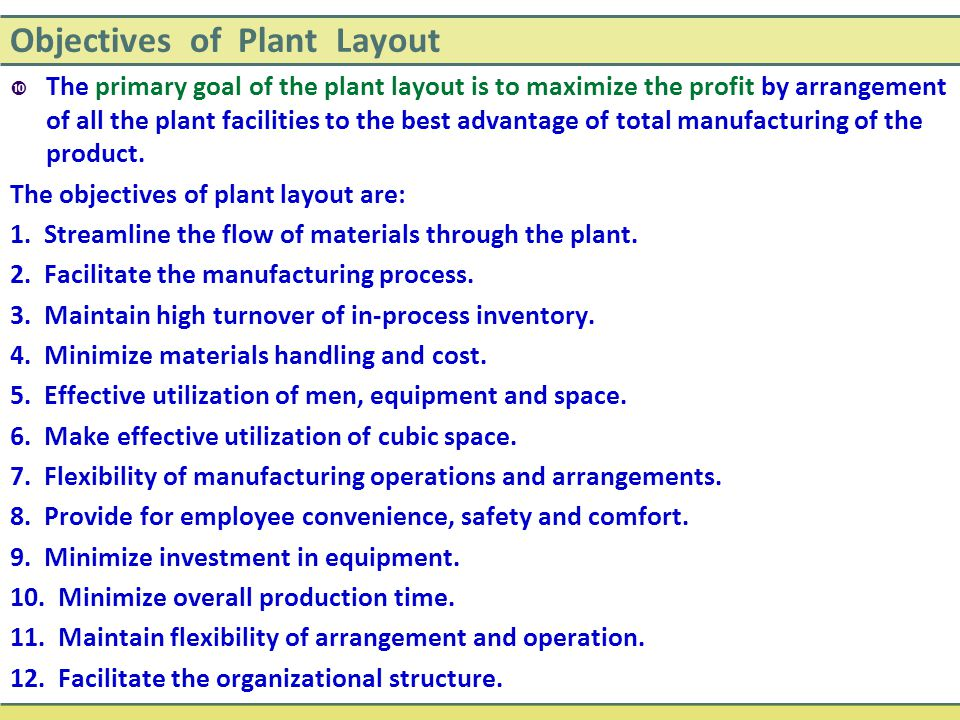 Objectives of Plant Layout