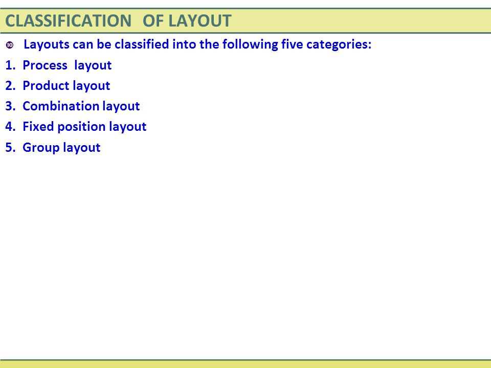CLASSIFICATION OF LAYOUT