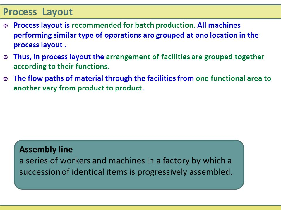 Process Layout Assembly line