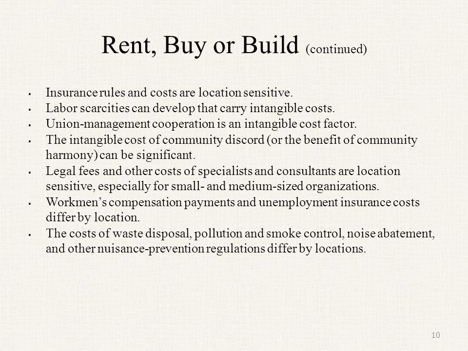 Rent, Buy or Build (continued)