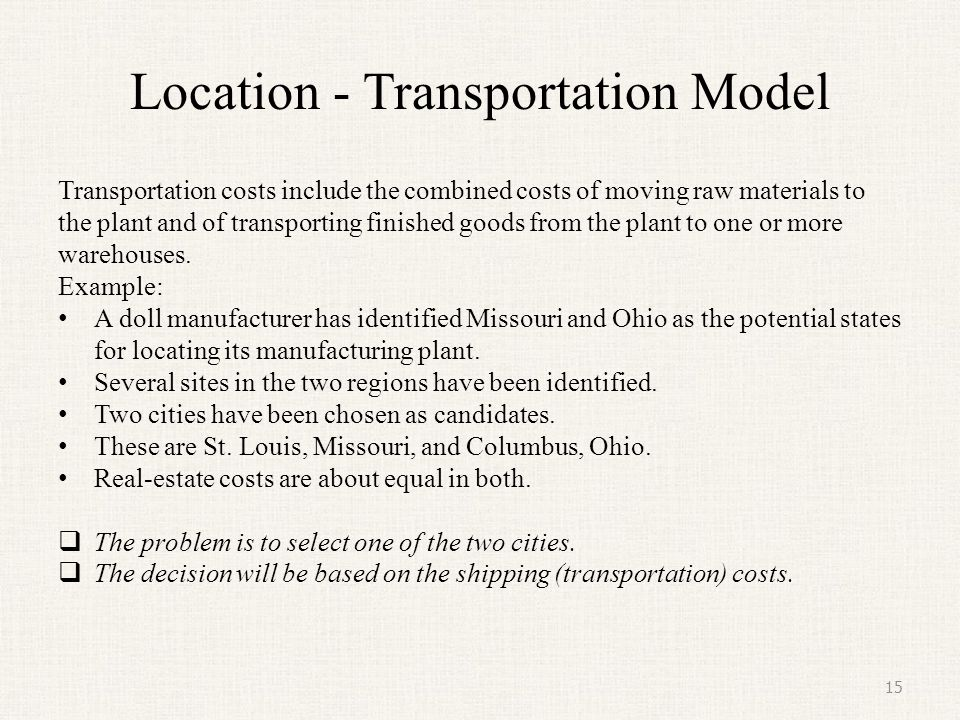 Location - Transportation Model